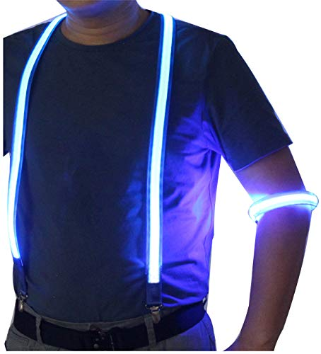 LED Suspenders with LED Armbands Set Neon Glow for Costume Men&Women Night Running/Concerts/Rave Party (Blue) ()