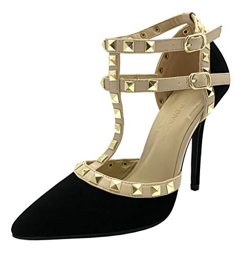 Wild Diva Womens Pointy Toe Gold Stud Strappy Ankle T-Strap Stiletto Heel Pump Sandal,9 B(M) US,Black - Pump Buckle Double Platform