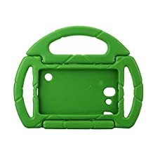 Kids Proof Samsung Galaxy Tab 3/P3200 Lite Case Durable Silicone Protective Cases with Carrying Steering Wheel for Samsung Galaxy Tab3 Lite Tablet 7 Inch Screen NOT Fit For 8 Inch (green)