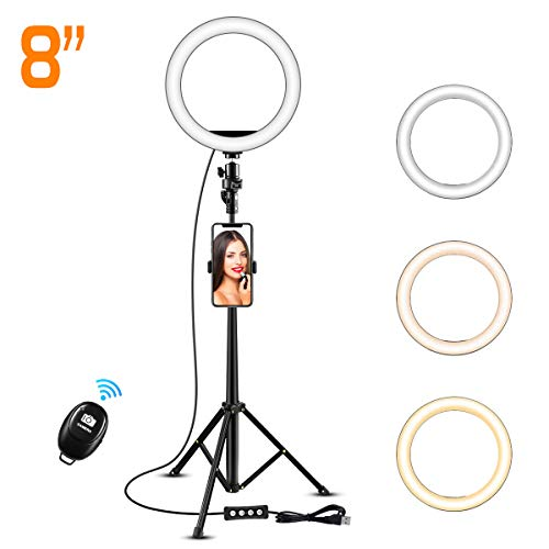 8″ Selfie Ring Light with 50″ Extendable Tripod Stand & Flexible Phone Holder for Live Stream/Makeup, KOYOT Mini Desktop Led Camera Ringlight for YouTube Video, Compatible with iPhone/Android