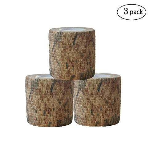 Camouflage Wrap Camo Fabric Multi-functional Stealth Tape or Bandage Protective for Firearms,Military Telescopic,Outdoor Hunting Tool,Rifles,Flashlights,Cycling 3 Rolls 15' Length x 2