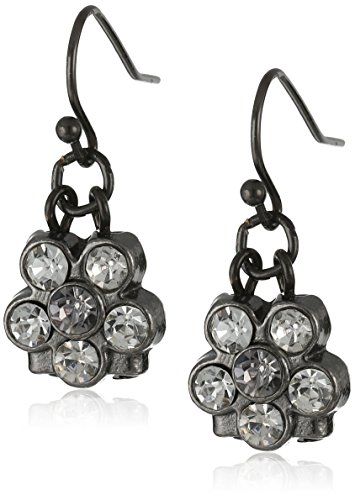 1928 Jewelry Black-Tone Clear Crystal Petite Flower Drop (Clear Crystal Flower Earrings)