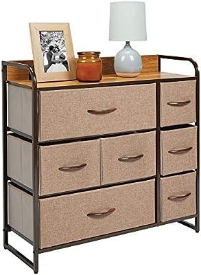 mDesign Cómoda para dormitorio con 7 cajones – Mueble con cajones ancho para el salón, la habitación o el pasillo – Cajonera de metal, MDF y tela para guardar ropa – marrón: Amazon.es: Hogar