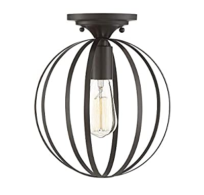 Trade Winds Lighting TW60046ORB Industrial Vintage Retro Metal Bands Sphere Loft Close to Ceiling Semi-Flush in Oil Rubbed Bronze
