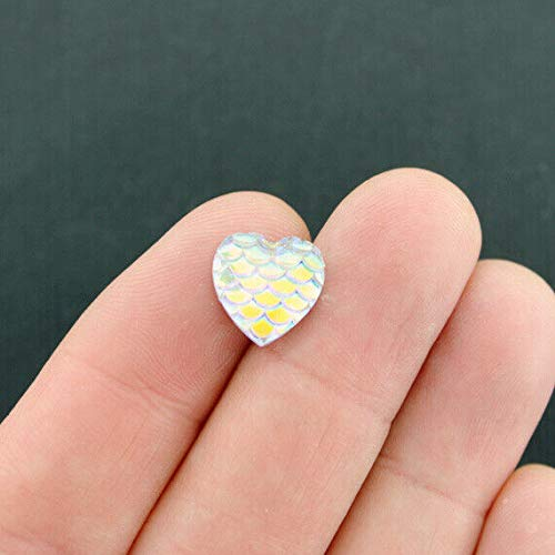 20 Mermaid Scale Charms White Opal Color Resin Cabochon Seal 12mm - Z571