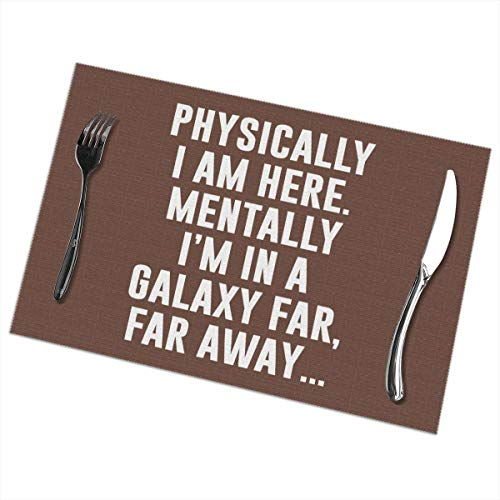 Placemats for Dining Table Set of 6 I'm in A Galaxy Far Far Away Wear-Resistant Heat-Resistant Kitchen Table Mats 18