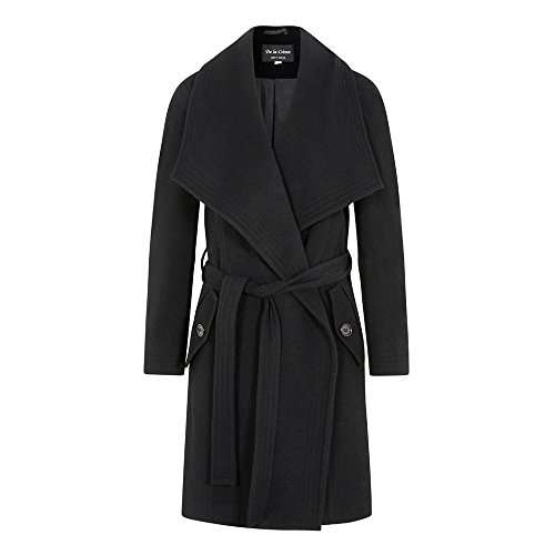 De La Creme - Black Women`s Winter Wool Cashmere Wrap Coat with Large Collar Size 4
