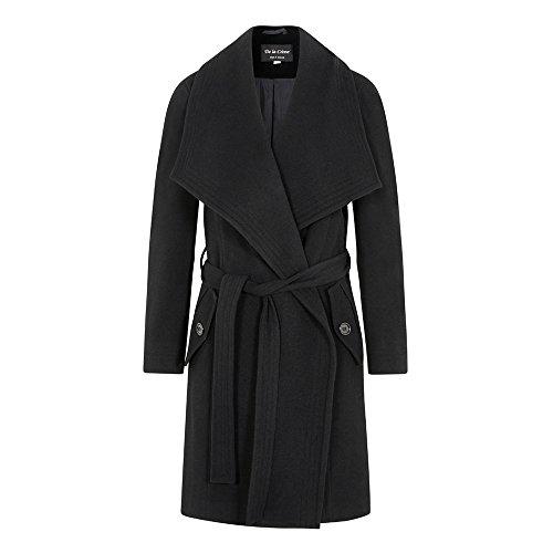 (De La Creme - Black Women`s Winter Wool Cashmere Wrap Coat with Large Collar Size 18 )