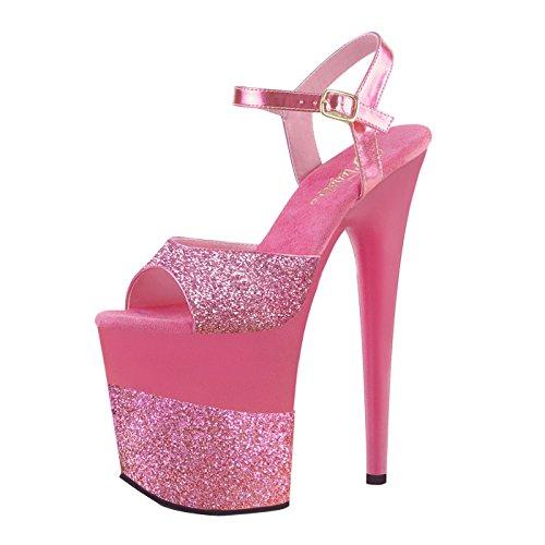 Pleaser - Sexier Than Ever Leaser Plateau Sandale mit Knöchelriemen, Absatz Glitzer pinkfarben, Plattform Geteilt Mini-Glitzer und Hologramm Optik in Pink, Vegan, Flamingo-