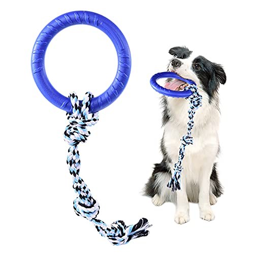 PMLAAK Dog Rope Toys for Medium-Large Dogs 2-in-1 Dog Tug Toys Ring Toy Outdoor Dog Toys for Aggressive Chewers Tough Dog Toys Puppy Teething Chew Toy