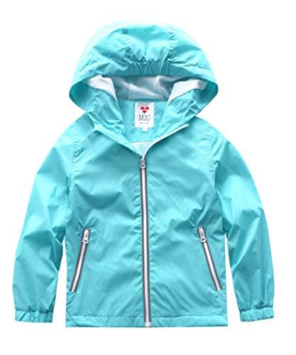 M2C Boys Girls Lightweight Windproof Coat Hooded Water Resistant Jacket 4/5 Sky -