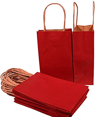 "Creative Hobbies® Small Paper Gift Handle Bags, 5.25"" x 3"" x 8.5"" Size, Deep Red, 24 Piece Pack"