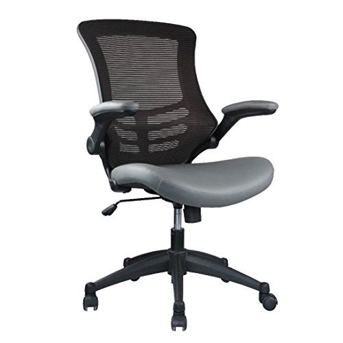 Manhattan Comfort Intrepid Collection Luxurious High Back Height Adjustable Swivel Office Desk Chair, Set of 2, Coffee and Grey