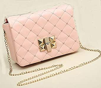 Female Bag Candy Color Women's Small Satchel Quilted Plaid Chain Bag Messenger Shoulder Bag GH9888 Pink