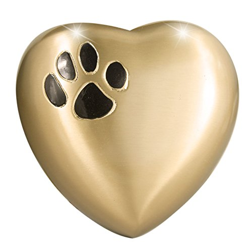 MEILINXU Heart Model by Pet Urns for Dogs Ashes or Cremation Cat Urns for Ashes- Hand Made in Brass and Hand Engraved- Attractive Display Burial Urn- Dog Memorial and Cat Memorial (Paw Heart-Shaped