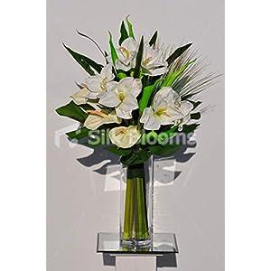 Silk Blooms Ltd Artificial White Fresh Touch Amaryllis and Anthurium Floral Arrangement w/Green Goddess Lilies 76