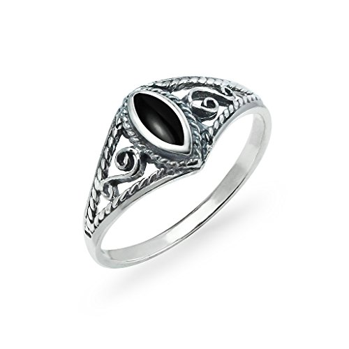 Sterling Silver Marquise Shaped Ring Filigree Sides Design Size 9 Simulated Black Onyx Inlay