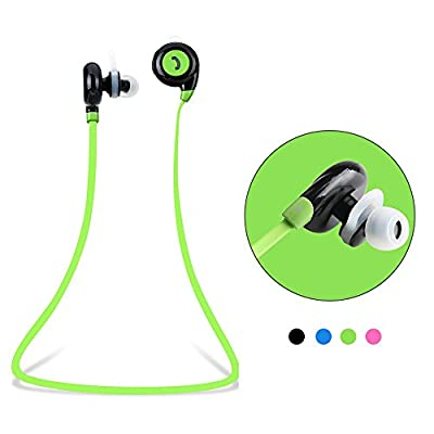Vangoog Newest Universa Wireless Bluetooth 4.1 Earphones Stereo Sweatproof for Sports Running Gym Compatible with Andorid IOS Mobile Phones-Green