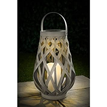 Roma Solar Powered Wicker Warm White LED Candle Lantern Included Battery.
