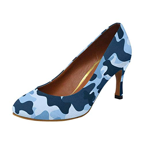 Pump Heel High Houndstooth (InterestPrint Womens High Heels Comfort Pumps Blue Camouflage 6 B(M) US)