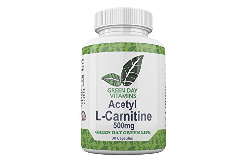 Green Day Vitamins Acetyl L-Carnitine Dietary Supplement – 500Mg Energy Boost Capsules for Chronic Fatigue – High Potency Dose – Promotes Healthy Brain and Heart – Stimulates Weight ()