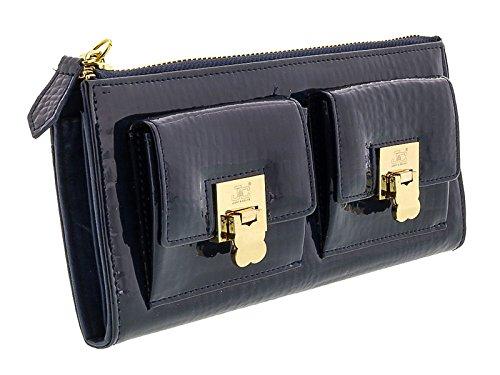 Jacky&Celine J11-012 BLU Navy Zippered Large Wallet for womens - Celine Wallet