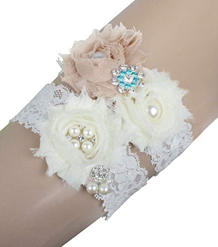 (MerryJuly Wedding Bridal Garter Set Lace with Ivory and Champagne Flowers (XL(20-25 inch)) )
