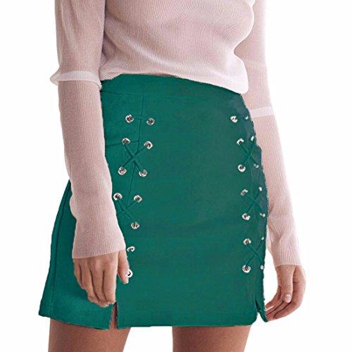 Ai Vert La Mini Party Jupe Femmes Suède crayon Des Taille Courte Fendu moichien Lacets Empire Portefeuille Sexy qFrwfaq