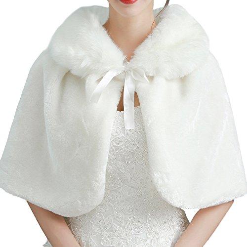 Dasior Women's Faux Fur Bridal Wrap Shawl Cape Wedding Coat White