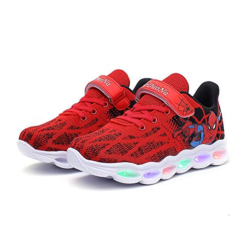 Red Kids Spider-Man Light-up Shoes Breathable Soft Bottom Flash Sneakers 13 Little Kid -