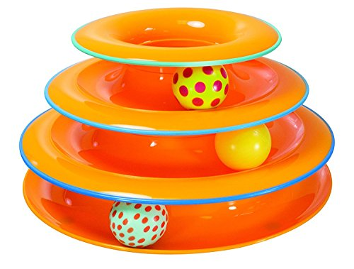 Petstages Tower of Tracks Cat Toy - 3 Levels of Interactive Play - Circle Track with Moving Balls Satisfies Kitty's Hunting, Chasing, and Exercising Needs (Feeder 2 Side)