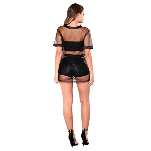 OLUOLIN Mesh Blouse Night Short Lace Dress Floral Party Embroidered Sexy Sleeve Sheer Shirt Womens Black Tops rqwrPv1