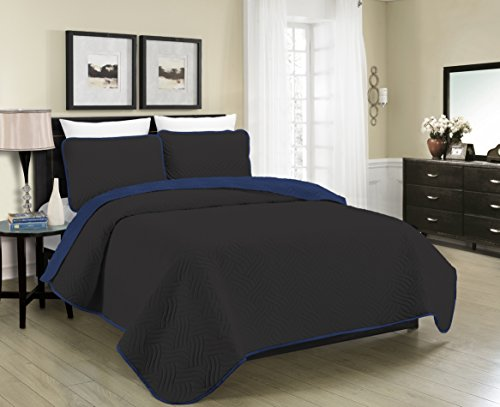 Blissful Living Reversible Luxury Pinsonic Quilt Set Including Shams – Lightweight and Soft for All Year Round Comfort, Available in Twin, Full / Queen and King Size (Black/Navy, - Mens Cheap Fashion