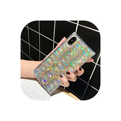 Fashion Luxury Diamond Laser Bling Square Cases for iPhone Xs Max Xr X 6 6S 7 8 Plus Transparent Soft Silicone Phone Back Cover,Gold,for iPhone Xs