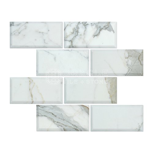 - Calacatta Gold (Italian Calcutta) Marble 3 X 6 Subway Field Tile, Polished and Deep Beveled