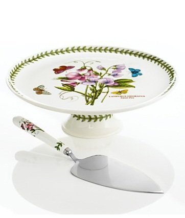 Portmeirion 519602 Botanic Garden Footed Cake Plate with Server, 10