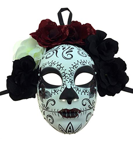 KBW Adult Unisex Female Day of Dead Full Face Mask with Rose Flower Crown, Sugar Skull Multicolored One Size Mexican Spanish Tradition Halloween Costume -