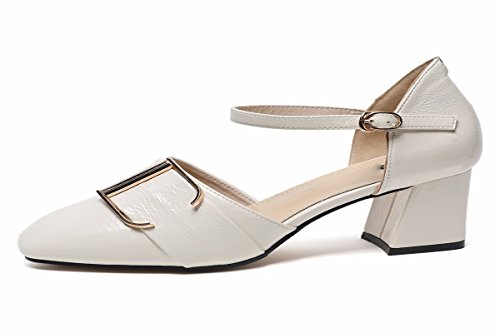 Scarpe Joker Con Da donna Donna Parola Beige Estate Heeled da Hollow Moda Scarpe 6Cm GTVERNH Estate Una Scarpe Solo High TEqZxE0wP
