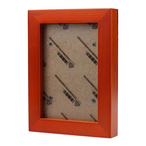 SUKEQ Wooden Picture Frame Wall Mounted Hanging Photo Frame Wall Art Home Decor Artwork for Living Room, Bedroom (Orange)