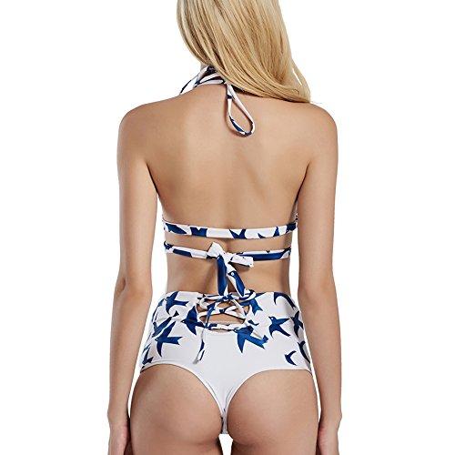 Là Vestmon Bikini a vita alta con spalline incrociate da donna sexy con stampa uccello volante
