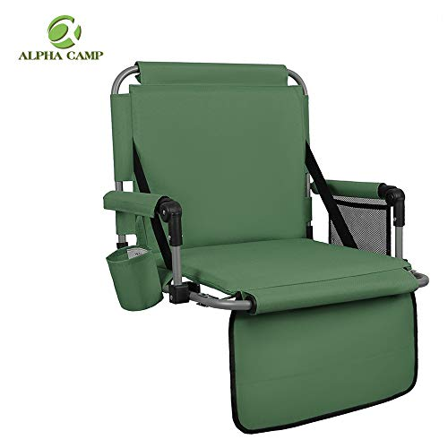 ALPHA CAMP Stadium Seat Padded Chair for Bleachers with Back& Arm Rest, Green