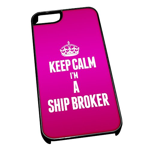 Nero cover per iPhone 5/5S 2675rosa Keep Calm I m A nave Broker