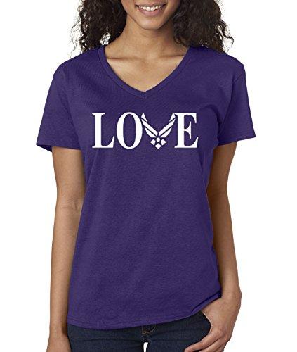 - New Way 142 - Women's V-Neck T-Shirt Love Air Force Wife XL Purple