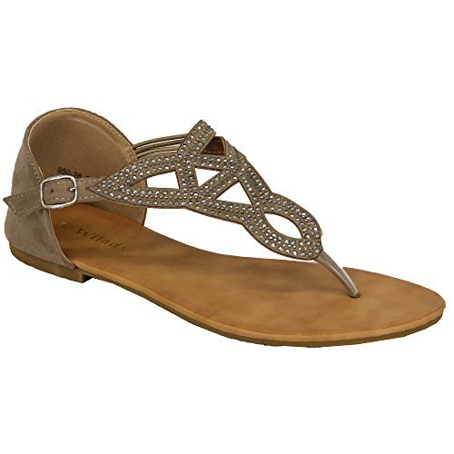 Ladies Diamante Sandals Womens Flat Strap Toe Post Studs Shoes Party Summer Grey - 95026