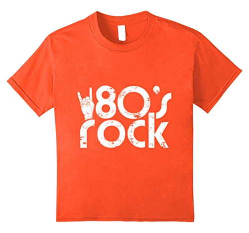 Boy 80s Costumes (Kids Vintage Rock T-Shirt - Kids 80s rock shirt 8 Orange)
