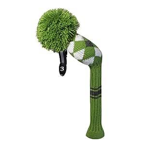 Verde blanco gris estilo argyle Golf Club Pom Pom funda para ...