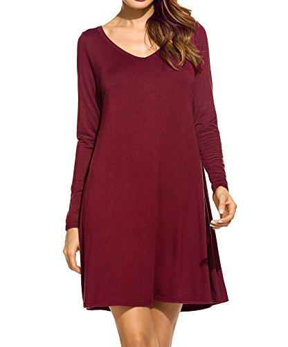 Sleeve Dress Fall Women's Loose 4 Bluetime Long Casual Basic Winter Wine Red wgfTn7BqX