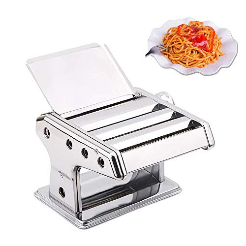 (Stainless Steel Pasta Machine 6 Adjustable Thickness Settings Noodles Maker with Washable Rollers and Cutter for Spaghetti Lasagna or Dumpling Skins)