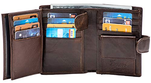 Large RFID Genuine Leather Card Holder Trifold Wallet Snap Closure 3 ID Windows for men (Chocolate)