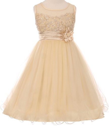 Sleeveless Pearl Coiled Mesh Ribbon Sash Easter Summer Flower Girls Dresses Little Girl Champagne 6 CC 5015